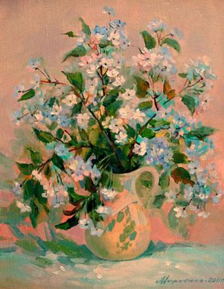 картина Вишня цветет