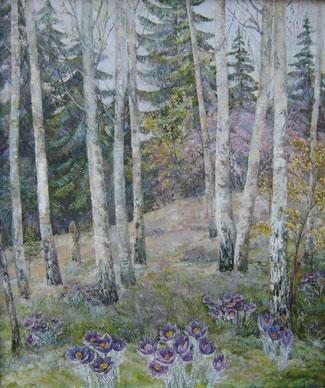 картина В лесу весной