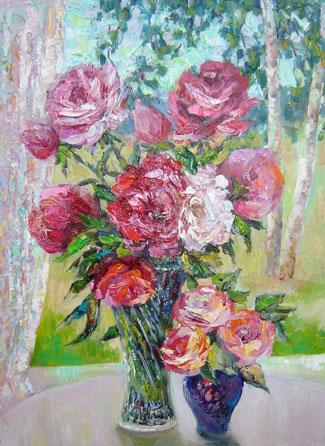 картина Розы и пионы